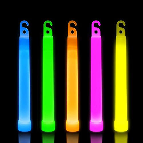 Lumistick 6 Inch Premium Glow Sticks | 15mm Thick Flat Bottom Illuminating Emergency Sticks | Kids Safe, Waterproof & Non-Toxic Light Up Neon Sticks for Camping & Hiking (Assorted, 50 Glow Sticks) -