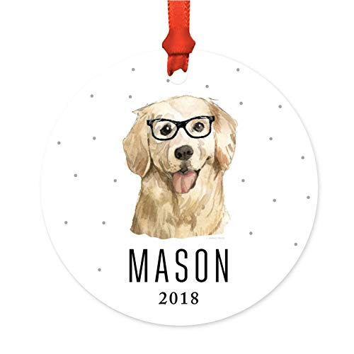 - Andaz Press Personalized Preppy Dog Art Round Metal Christmas Ornament, Golden Retriever in Black Glasses 2019, 1-Pack, Custom Birthday Present Ideas for Him Her Dog Lover, Includes Ribbon, Gift Bag