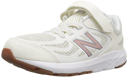 New Balance Girls' 519v1 Hook and Loop Running Shoe sea Salt/Rose Gold 2 W US Little Kid