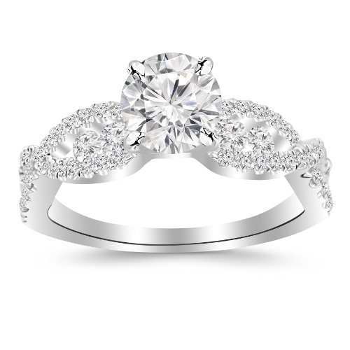 2.1 Carat Designer Twisting Eternity Channel Set Four Prong Diamond Engagement Ring 14K White Gold with a 1.5 Carat J-K I1 ()