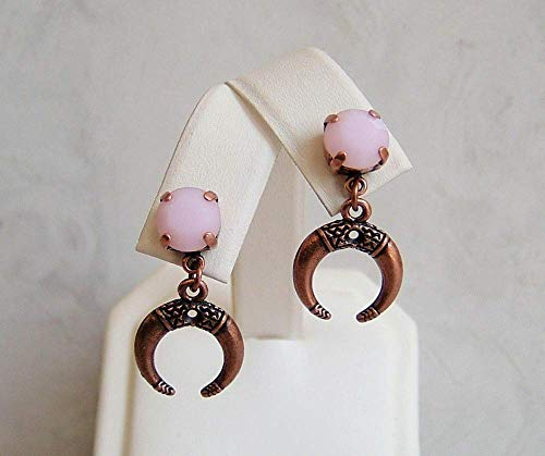 (Rose Pink Alabaster Round Made with Swarovski Crystal Hypoallergenic Antique Copper Ox Horn Simple Drop Dangle Ear Stud Post Earrings Gift Idea)