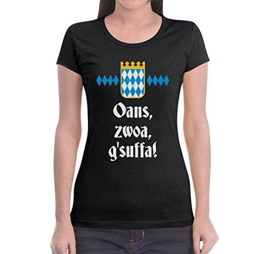 Coole Oktoberfest Kleidung - Oans, zwoa, g'suffa! Frauen T-Shirt Large Schwarz