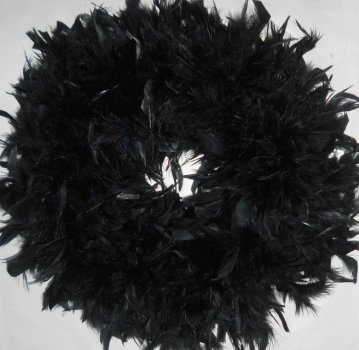 Fluffy Black Chandelle Feather Wreath...Gorgeous Home Accent -