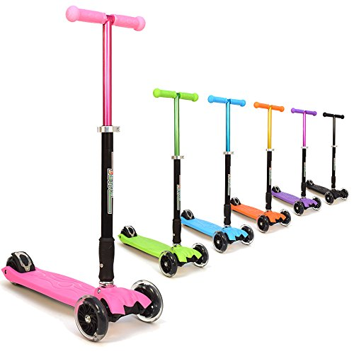 3Style Scooters® RGS-2 Kids Three Wheel Kick Scooter in Pink - Perfect For Children Aged +5 - Featuring LED Light-Up Wheels, Foldable Design, Adjustable Handles & Lightweight Construction