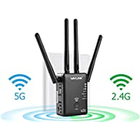 AC1200 Dual Band WiFi Range Extender - Wavlink Wireless Repeater Signal Booster/Access Point/Router 2 Ethernet Port/External Antenna-Updated Version