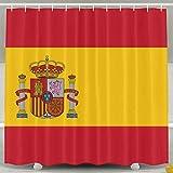 MdsdWXza Flag Spain Fashion Shower Curtain Deluxe Waterproof Bath Curtain