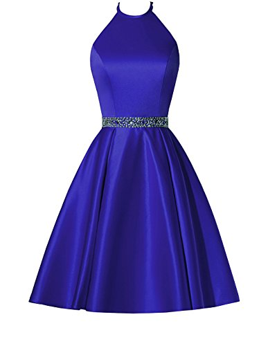 BBCbridal Satin Halter Homecoming Dresses Short Beaded Cocktail Dress for Juniors with Pockets RoyalBlue -