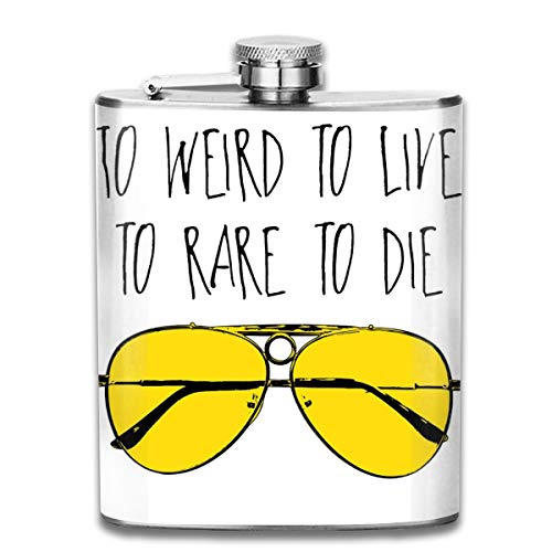 To Weird To Live To Rare To Die Fear And Loathing In Las Vegas Print Hip Flask Pocket Bottle Flagon 7oz Portable Stainless Steel Flagon