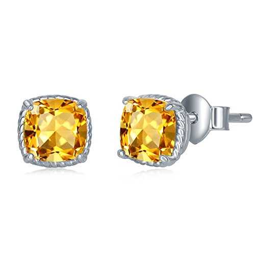 Sterling Silver Genuine Citrine Cushion Cut Square 6mm Natural Gem Birthstone Stud Earrings