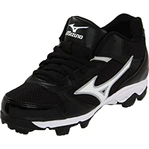Mizuno 9-Spike Youth Franchise 6 Mid Baseball Cleat (Toddler/Little Kid),Black/White,4 M US Big Kid