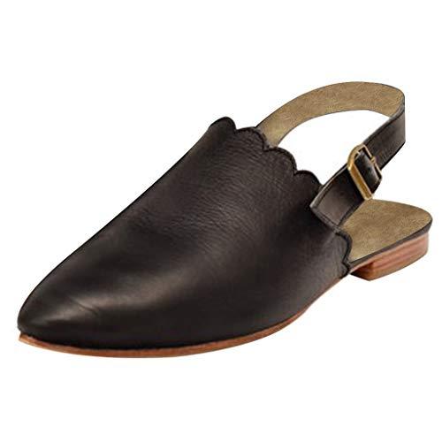 Pongfunsy Women's Sandals Women's Trendy Platform Slippers Slingback Mules Sandals Elegant Pointed Casual Shoes 2019 - Vans Plaid On Slip