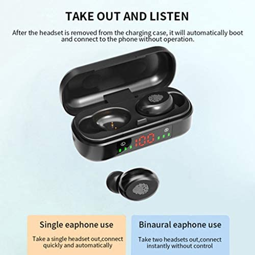 #N/A Bluetooth 5.0 Headphones, Wireless Earbuds Stereo Sound Mini in Ear Bluetooth Earphones Touch Control Headset with Built in Mic and LED Charging Case