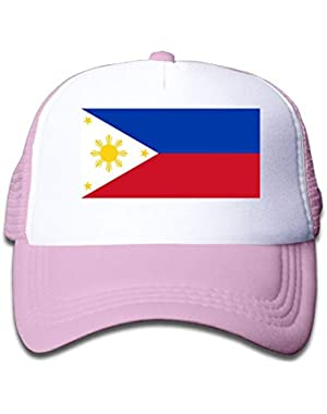 Philippines Flag On Boys and Girls Trucker Hat, Youth Toddler Mesh Hats Baseball Cap