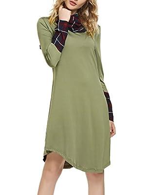 SE MIU Women's Plaid Long Sleeve Casual Simple Hem Shirt Dress