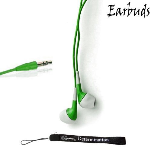 "Price comparison product image eBigValue: GREEN Crystal Clear HD Noise Filter Ear buds Earphones Headphones (3.5mm Jack) For Amazon Kindle Fire 7"" 2nd Generation and Amazon Kindle Fire HD 7"" and Amazon Kindle Fire HD 8.9"" 4G LTE + an eBigValue Determination Hand Strap"