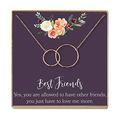 Dear Ava Best Friend Necklace: BFF Necklace, Long Distance, Friends Forever, Jewelry, 2 Interlocking Circles (Rose-Gold-Plated-Brass, NA)