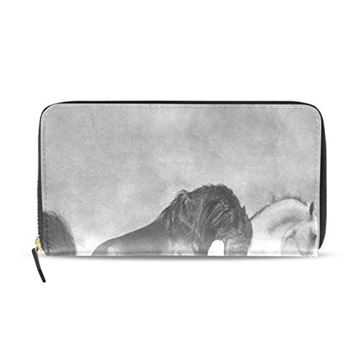 Womens Wallets Black And White Horse Artwork Leather Passport Wallet Coin  Purse Girls Handbags c28b31ebe9411