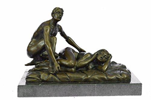 Handmade European Bronze Sculpture 2 Pcs Original Signed Patoue A Couple Having Sex Marble Bronze Statue -UKEPA-115-Decor Collectible Gift by Bronzioni