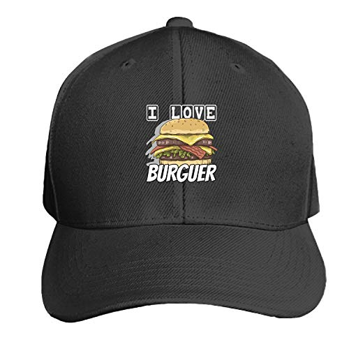 Peaked hat I Love BURGUER Adjustable Sandwich Baseball Cap Cotton Snapback ()