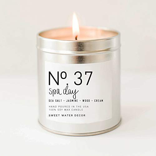Spa Day Natural Soy Wax Candle Silver Tin Summer Scented Sea Salt Jasmine Wood Cream Spa Candle Modern Rustic Home Decor Bathroom Accessories Relaxation Candle Made in USA Lead Free Cotton Wick ()