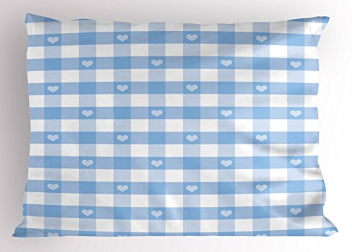 Gingham Standard Sham - Ambesonne Checkered Pillow Sham, Gingham Motif with Cute Little Hearts Pastel Blue Baby Shower Kids Theme, Decorative Standard Queen Size Printed Pillowcase, 30 X 20 Inches, Light Blue White