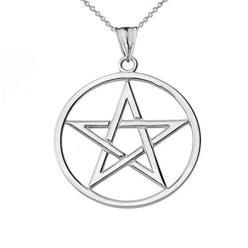 Elegant 10k White Gold Pentagram Charm Pendant Necklace, (Gold Claddagh Pendant)