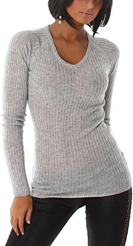 voyelles Jersey de Mujer canalé Stretch en RIPP de dibujo con cuello en V (Talla Única 34, 36, 38) gris
