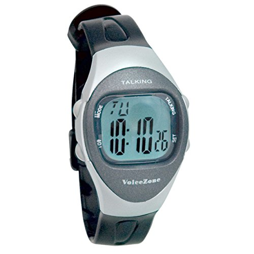 Ladies 4-Alarm Talking Watch - Black - Silver by MaxiAids