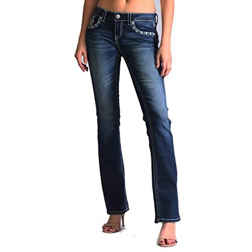 Grace in LA Women's Feather Embellished Junior Fit Bootcut Jeans | JB-81256-36 - Size 27 Blue