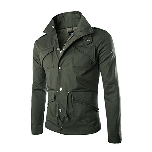 Clearance! iYBUIA Men Fashion Casual Jacket Coat Slim Outwear Overcoat with Pockets(Green,M)
