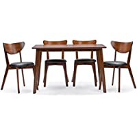 Baxton Studio Sumner Mid-Century Style 5 Piece Dining Set, Walnut Brown