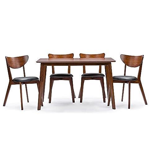 Baxton Studio Sumner Mid Century Style 5 Piece Dining Set, Walnut Brown