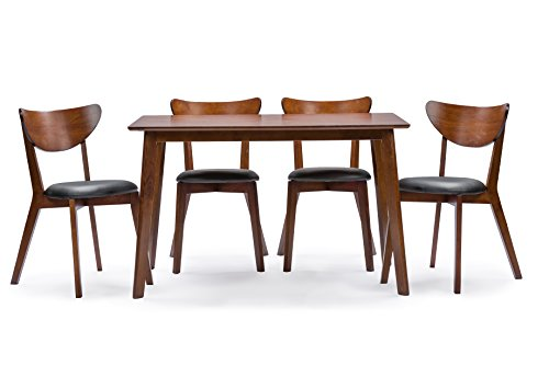 'Baxton Studio Sumner Mid-Century Style 5 Piece Dining Set, Walnut Brown' from the web at 'https://images-na.ssl-images-amazon.com/images/I/41JNpq9F-YL.jpg'