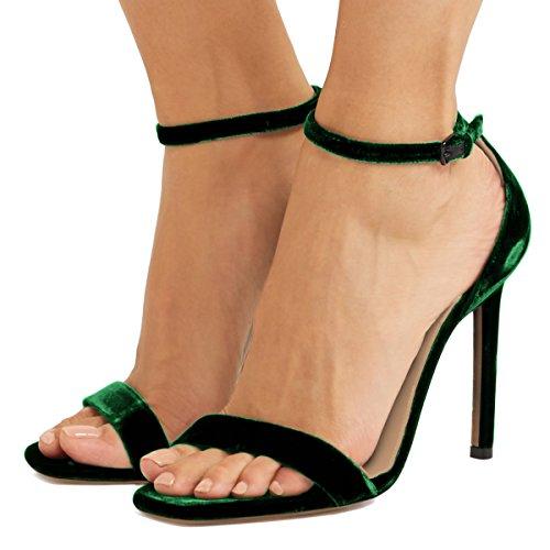 Strap Party Green US FSJ Toe Women Classic Velvet Sandals Shoes Heel Size Prom Open 4 High Ankle Stiletto 15 wPY4xUw