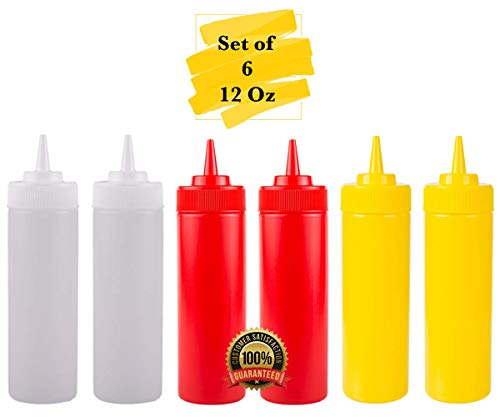 - MM Foodservice Wide Mouth Squeeze Bottle Set of 6 Bottles, Red, Yellow and Clear, 12 OZ