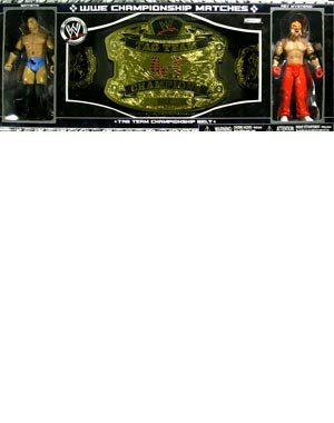 WWE Championship Belts Tag Team Belt with Batista and Rey Mysterio Action Figure Set by WWE