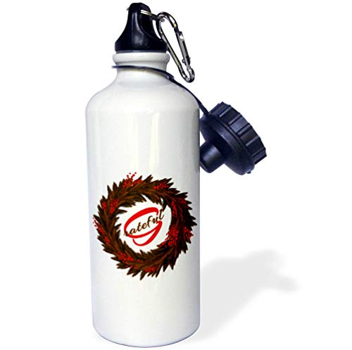 3dRose Doreen Erhardt Autumn Collection - Elegant Brown and Orange Autumn Wreath with Grateful Message - 21 oz Sports Water Bottle (wb_294954_1) by 3dRose