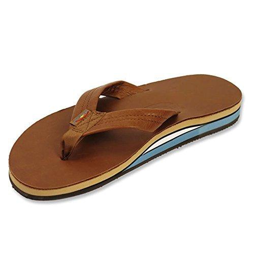 Rainbow Mens Double Layer Leather Sandals , Medium, Classic Tan/Blue (Sandals Nylon Rainbow)