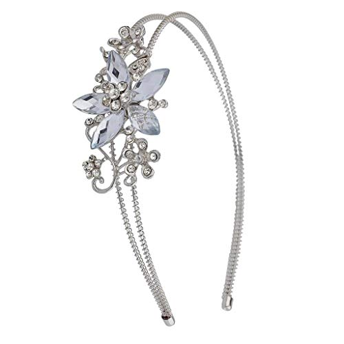 Lux Accessories Silvertone Crystal and Pave Stone Bridal Vine Flower Headband