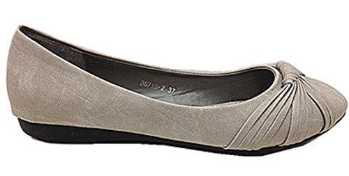 B grigio Scarpe 2 moccasins piatto colore 0726 Donne ballerine R8PqgnxxY