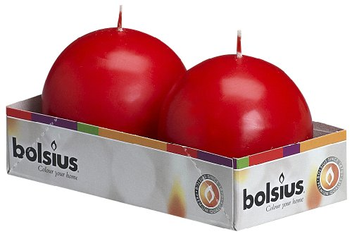 BOLSIUS Pack of 2 Red Ball Candles 2.75 Inch (70 mm.)