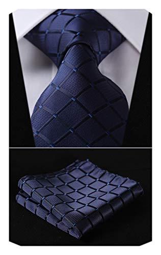 - HISDERN Extra Long Check Tie Handkerchief Men's Necktie & Pocket Square Set (Navy Blue)