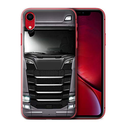 eSwish Phone Case/Cover for Apple iPhone XR/Gunmetal Grey Silver Design/HGV Euro Truck Cab-Over Lorry Collection