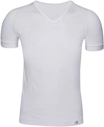 Camiseta Interior Hombre de Manga Corta con Cuello Pico -ZD -Algodón Egipcio: Amazon.es: Ropa y accesorios