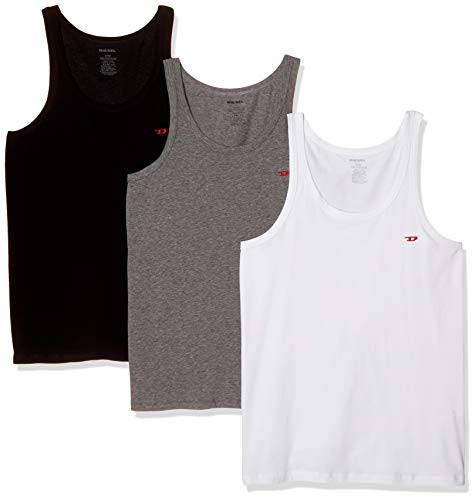 (Diesel Men's Johnny 3 Pack Tank Undershirts, Black/White/Grey, M)
