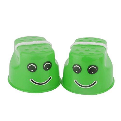Freebily 2pcs Children Kids Thickened Plastic Smile Face Stilts Balance Sense Training Equipment Toys for Kindergarten Outdoor Sports Green One (Smile Face Bean Bag)