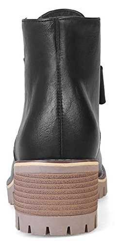 Chelsea High Pull Ankle On Heels With Women's Round Short Dressy Chunky Toe Boots Easemax Black q8Yw1REWzx