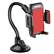 Car Mount, Mpow Universal Long Arm Windshield Dashboard Car Mount Holder with Easy Touch and Anti-skid Base for 4.0-6.0 inches Cell Phones,Red