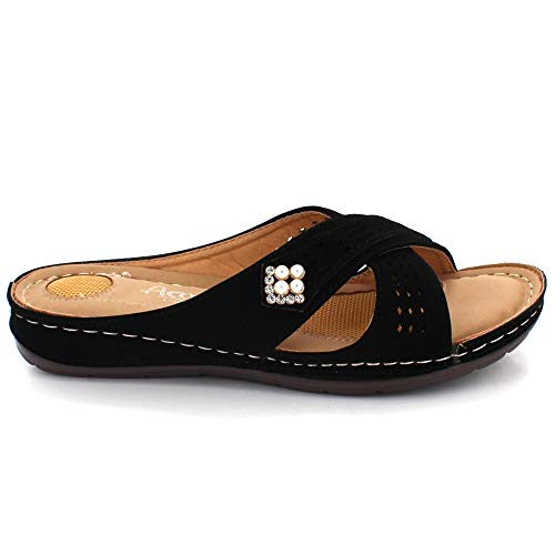 Día Ponerse Casual Tamaño Mujer Punta Negro Talon Comodidad Verano Señoras Plano Cada Abierta Sandalias Ligero Zapatos wPfqxfTaI