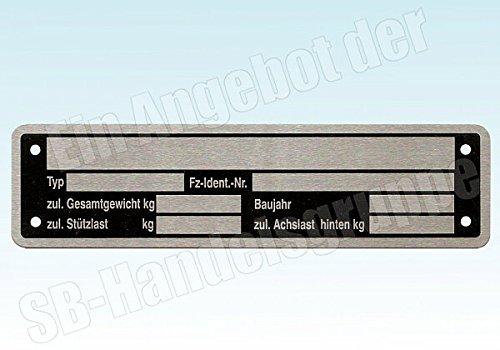 Typenschild fü r Pkw Anhä nger Trailer Wohnwagen neutral Aluminium 148x38mm meinAnhängerersatzteil 548